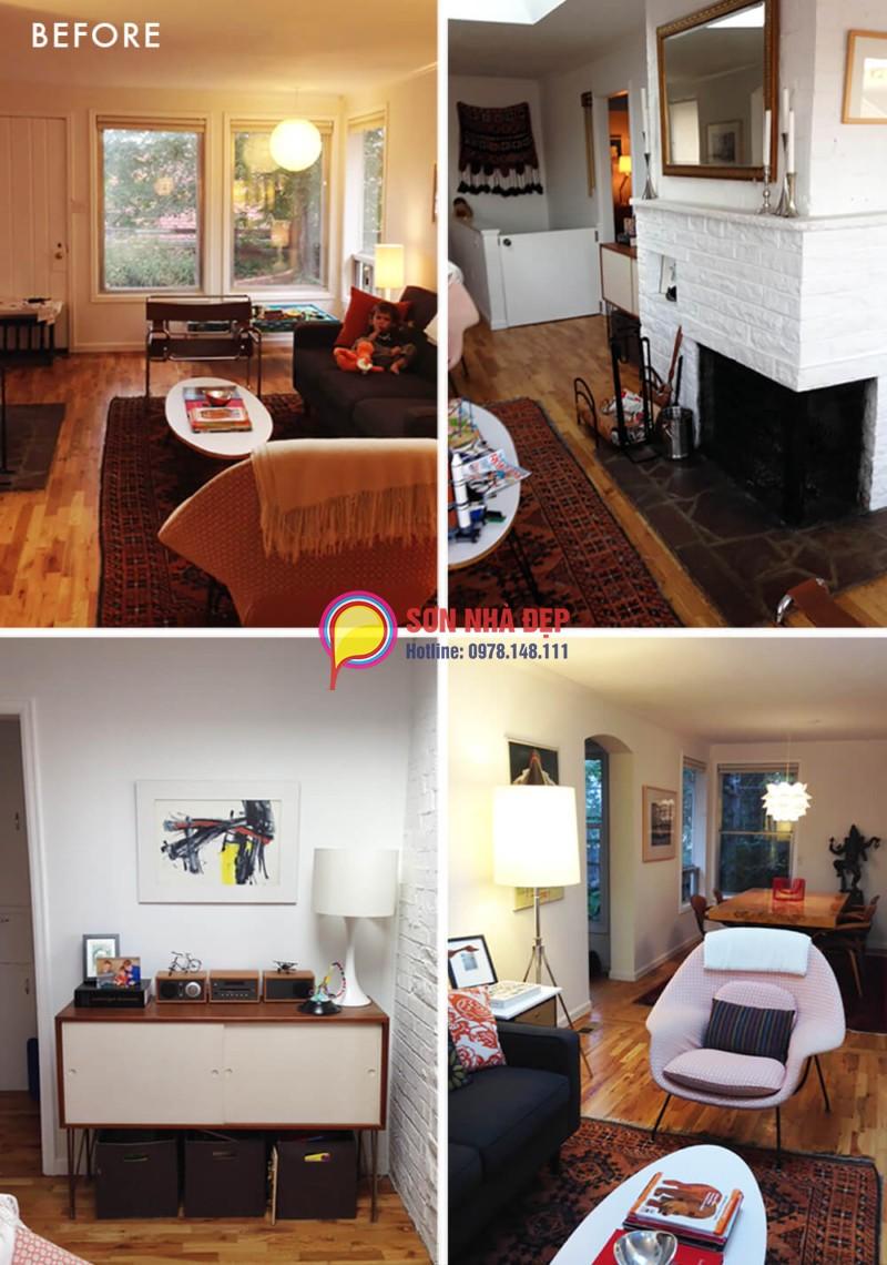 chọn màu sơn đẹp cho phòng khách nhỏ hẹp 06