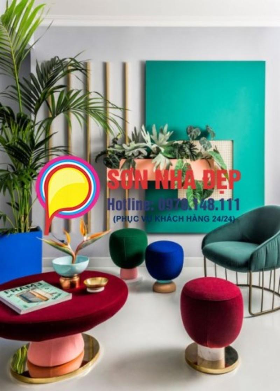 mẫu sơn phòng khách màu xanh lá cây đẹp nhất 21