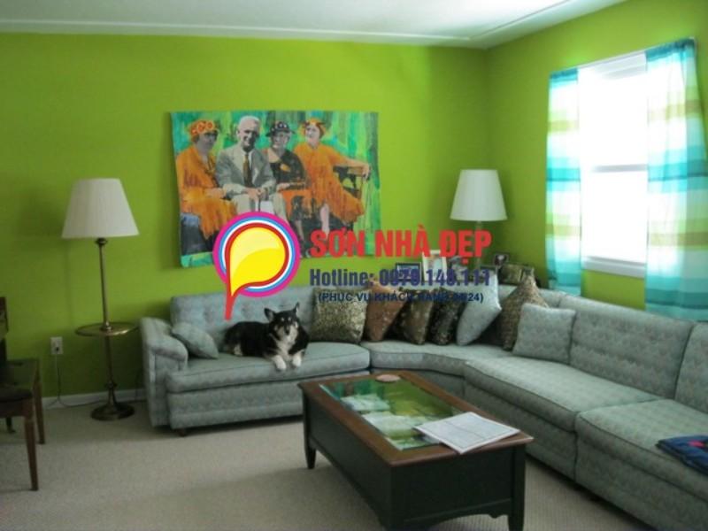 mẫu sơn phòng khách màu xanh lá cây đẹp nhất 25