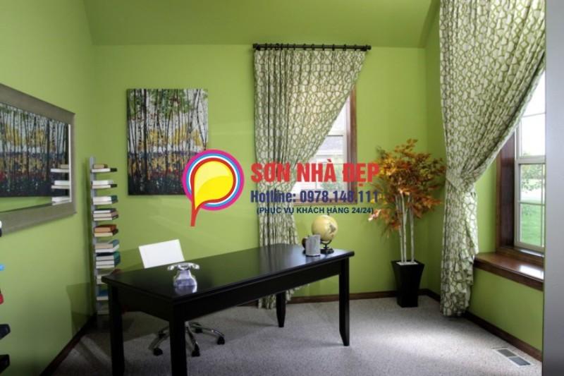 mẫu sơn phòng khách màu xanh lá cây đẹp nhất 50