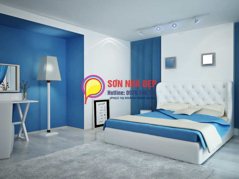 phối màu sơn phòng ngủ hợp với người mệnh Thủy 03