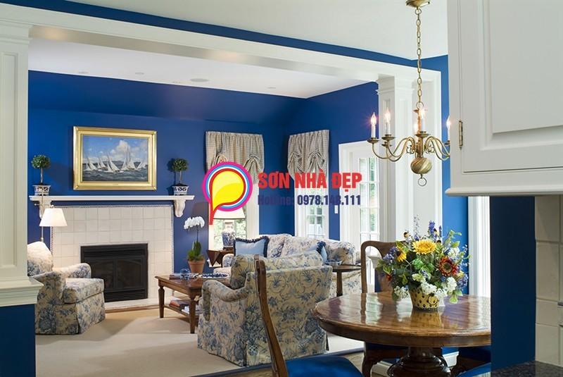 sơn nhà màu xanh 17