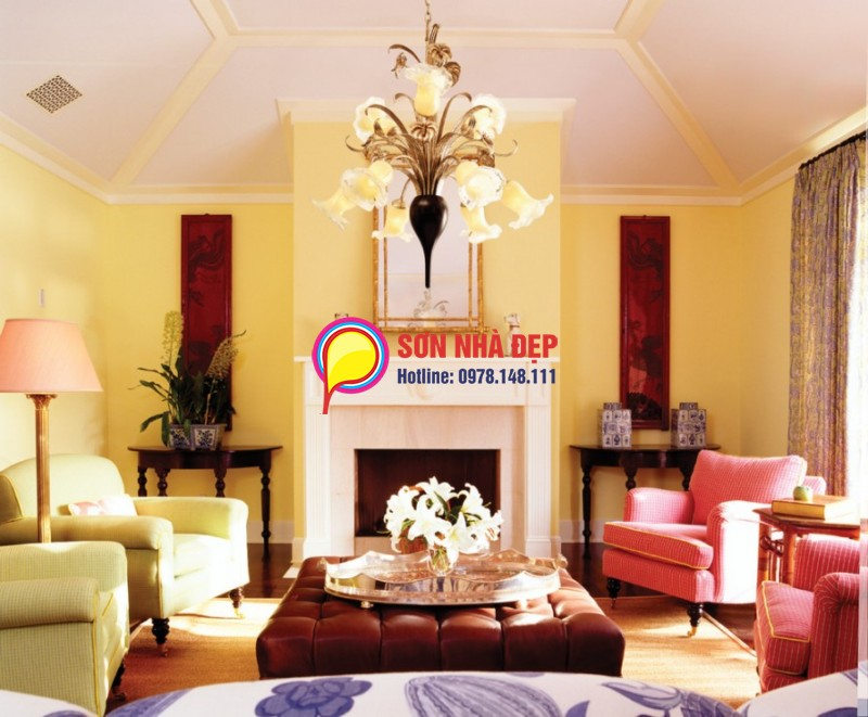 sơn phòng khách màu sáng đẹp 04