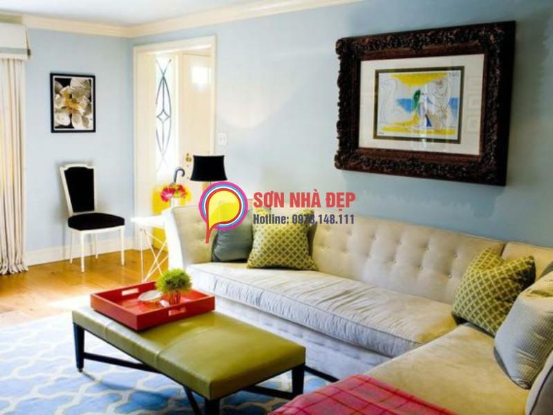 sơn phòng khách màu xanh nhạt sang trọng hiện đại 2016 8