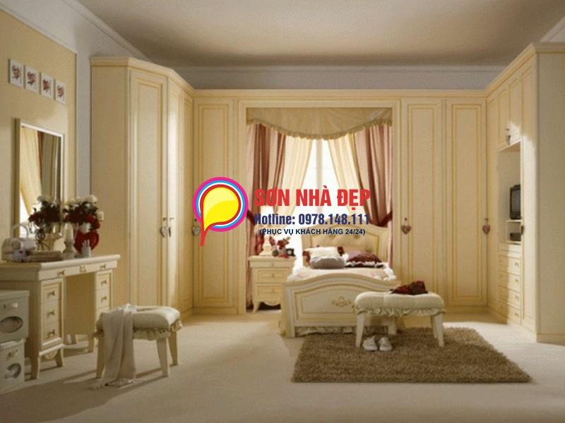 sơn phòng khách nhà màu vàng kem đẹp 07