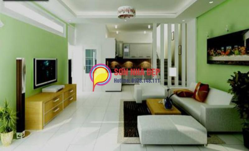 sơn phòng khách xanh lá nhạt