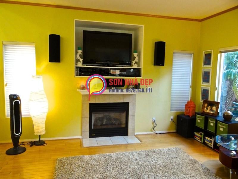 sơn tường nhà màu vàng tranh đẹp