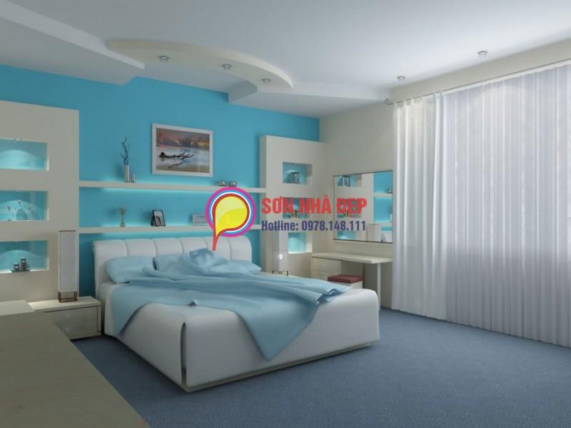 sơn tường nha màu xanh lam sáng